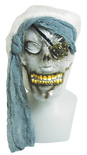 Clear Pirate Skull Halloween Mask with Attached Wig and Bandana