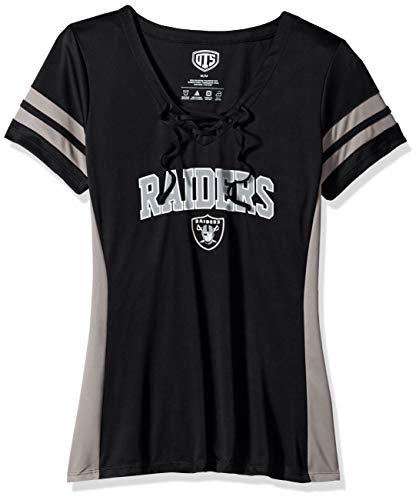 (NFL Oakland Raiders Female OTS Poly Lace Up V-Neck Tee, Jet Black, X-Large)