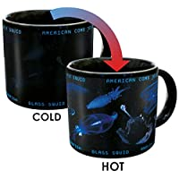 Heat Changing Bioluminescence Mug - Add Coffee or Tea to Reveal 7 Bioluminesent Sea Creatures - Comes in a Fun Gift Box