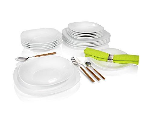 Cookado Tellerset Opalglas 18 teilig in eckigem Design | Für 6 Personen | gehärtetes Opalglas, 3 mal strapzierfähiger als herkömmliches Porzellan| 100% recyclebar | Unempfindlich gegen Hitze/Kälteschocks