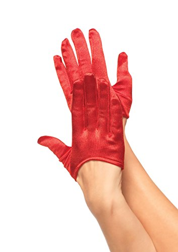Leg Avenue Women's Mini Cropped Satin Gloves, Red, One ()