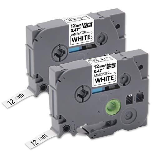 Unismar 2 Pack Compatible TZe-231 TZe231 TZ-231 TZ231 Laminated Tape Black on White 12mm (1/2) Width 8m (26.2ft) Length for Brother P-Touch Label Makers & Printers (US-TZe231 2PK)