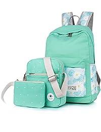 Leaper Casual Lightweight Canvas Laptop Bag Cute backpacks+Shoulder Bag+Purse Water Blue