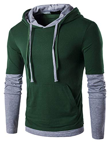 Tyhengta Mens Casual Long Sleeve T Shirt Slim Fit Pullover Hoodie Shirts Dark Green XX-Large