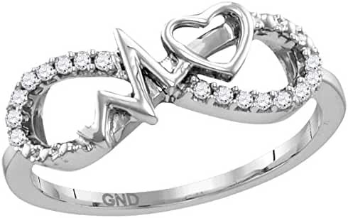 Sterling Silver Womens Round Diamond Infinity Heartbeat Ring 1/10 Cttw