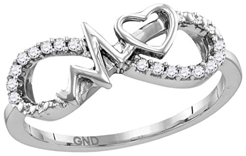 Sterling Silver Womens Round Diamond Infinity Heartbeat Ring 1/10 Cttw (Infinity Diamond Rings For Women)