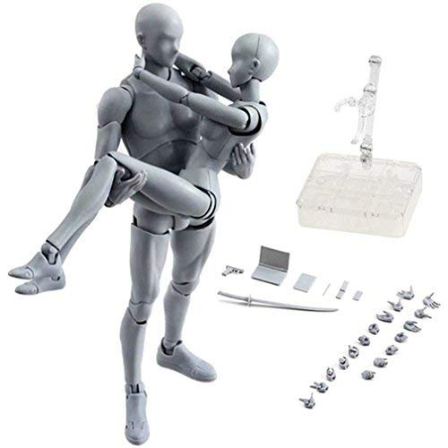 AbbonyDuo Action Figures Body-Kun DX & Body-Chan DX PVC Model SHF(Grey Color Ver) with Box (Female+Male) (Body Chan Body Kun Manga Drawing Figure)