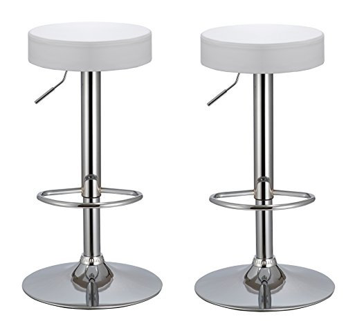 Duhome Bar Stool Adjustable Swivel PU Leather Seat Kitchen Counter Height Contemporary Barstools Chair Set of 2 410B-7 (White) Review