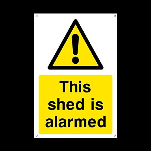 (This Shed is Alarmed Sign Stickers Funny Warning Sign Lables Self Adhesive Vinyl Security, Camera, Closed Circuit Tv, Warning Safety)