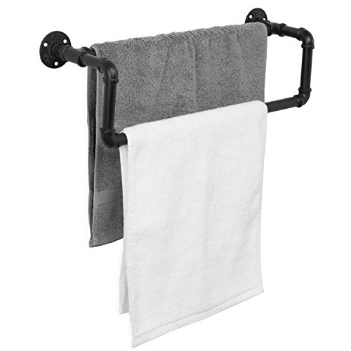 MyGift Industrial Black Metal Pipe Wall-Mounted Towel Bar by MyGift