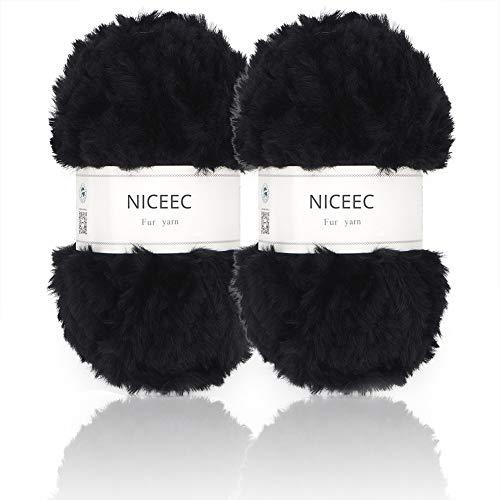 - NICEEC 2 Skeins Super Soft Fur Yarn Chunky Fluffy Faux Fur Yarn Eyelash Yarn for Crochet Knit-Total Length 2×32m(2×35yds,50g×2)-Black