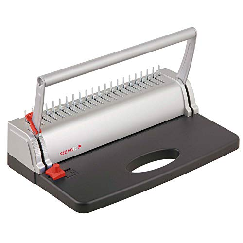 Cream Binding Coil - Genie CB 800 Spiral Binding Machine up to 145 Pages DIN A4 with Plastic Binding Comb Set Silver/Black
