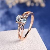 Panwa Jewelry Exquisite Princess 14K Rose Gold Oval Gemstone Aquamarine Jewelry Wedding Ring (10)