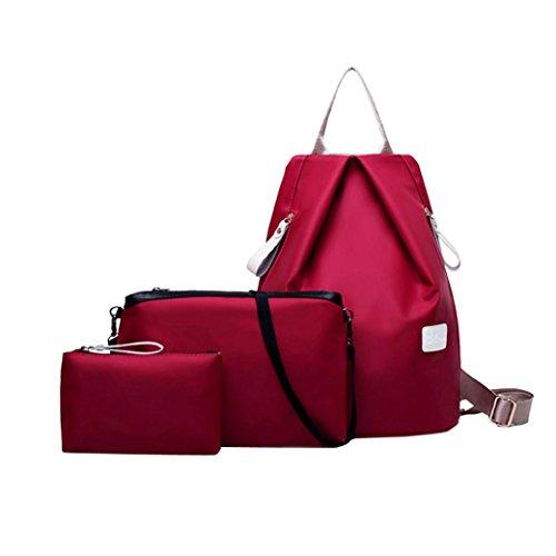Malloom 3 pcs /set Moda mujer bolso bandolera + mochila + monedero (negro) rojo