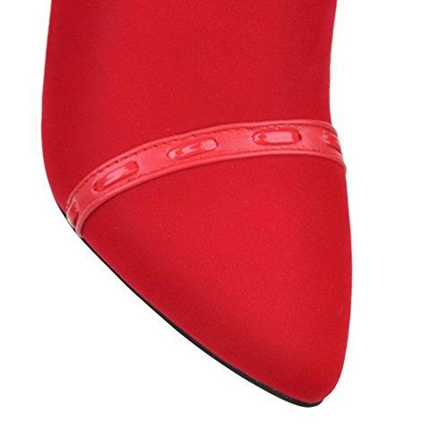 VogueZone009 Damen Rein Hoher Absatz Spitz Zehe Mattglasbirne Reißverschluss Stiefel Rot