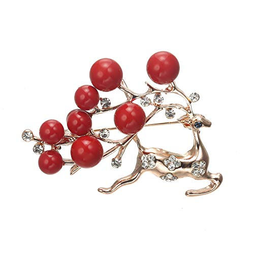 Pin Christmas Holiday (CRARINE Cute Crystal Sika Deer Brooches for Kids Girls Decorated Beads Pearl Antler Lapel Collar Pin Brooch for Hat Bag Scarf Clip Pink Gold)