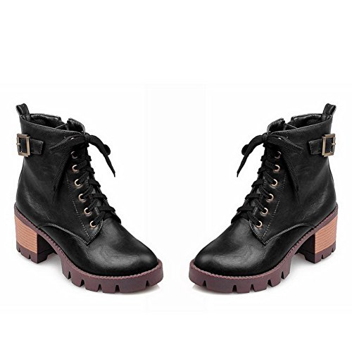 Allhqfashion Women's Zipper Round Closed Toe Kitten-Heels PU Low-Top Boots Black bLodpIkZcN