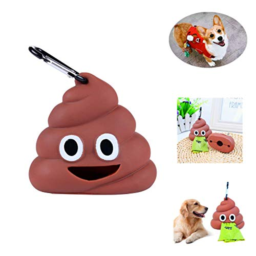 Sytian Super Cute Dog Poop Bag Holder Dog Waste Bag Holder Dog Poop Bag Dispenser Includes 1 Roll 15 Bags Easy Attaches…