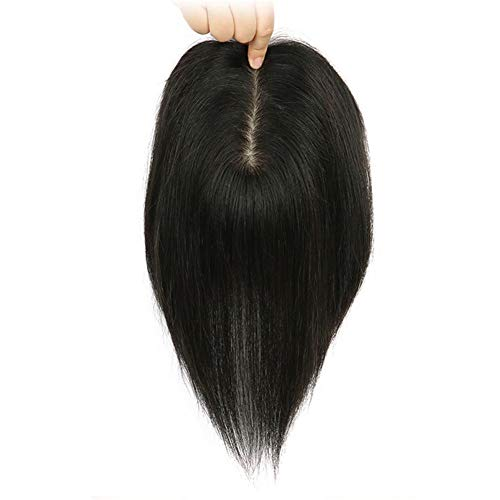 Remeehi Human Hair Hand Tied/Silk Base Straight Topper Short 12x14cm Clip on Hairpiece Invisible Wiglet Toupee Natural Black 30cm/12