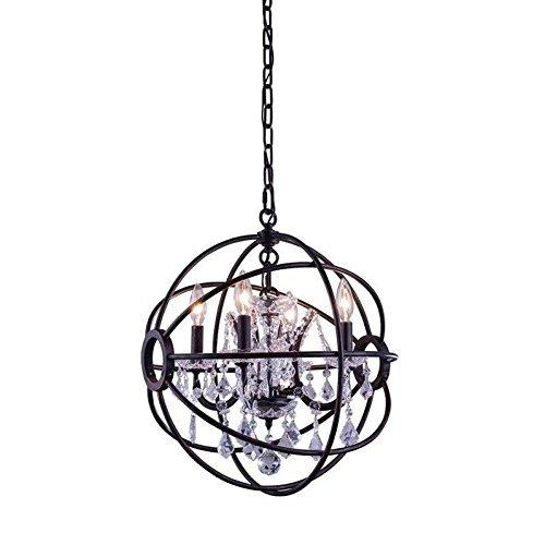 (Elegant Lighting Geneva Collection 4-Light Pendant Lamp with Royal Cut Crystals, Dark Bronze Finish)