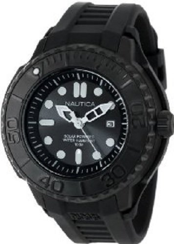 Nautica Men's Solar Watch Black Silicone Strap N28509G