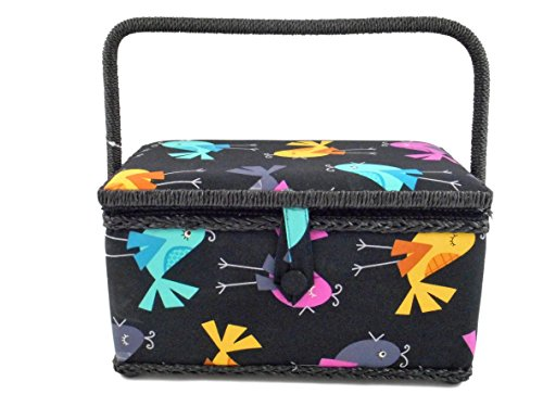 Fantastic Deal! Medium Rectangle Sewing Basket Box with Tray Pincushion 11x7x6.5 (11x7x6.5, Black wi...