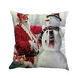 Pgojuni Christmas Flax Sofa Car Home Waist Cushion Cover Throw Pillow Cover Sofa/Couch 1pc (B)