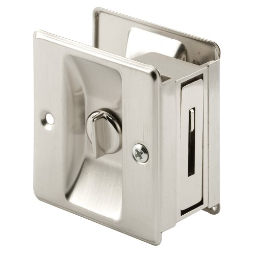 (Prime-Line Products N 7239 Prime-Line Pocket Door Privacy Lock with Pull, Solid, Satin Nickel,)