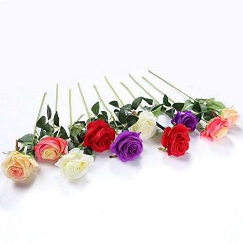 JUSTOYOU 10pcs Artificial Rose Silk Flower Blossom Bridal Bouquet for Home Wedding Decor (Mixed Color) (Bouquet Rose Flowers)