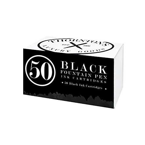 Thornton's Luxury Goods Short Standard International Fountain Pen Ink Cartridges, Pack of 50 (Black)