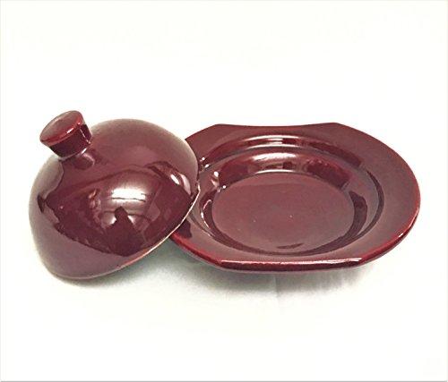 Ceramic Burgundy Dish - Small Moroccan Ceramic Serving Dish Handpainted in Burgundy