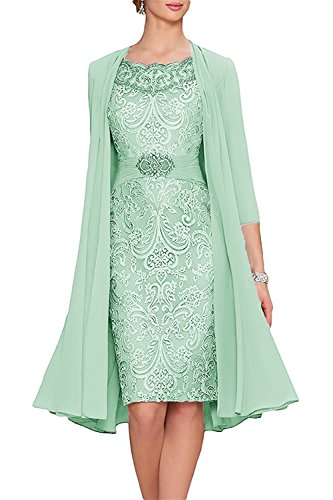 (APXPF Women's Tea Length Mother of The Bride Dresses Two Pieces with Jacket Mint US12)