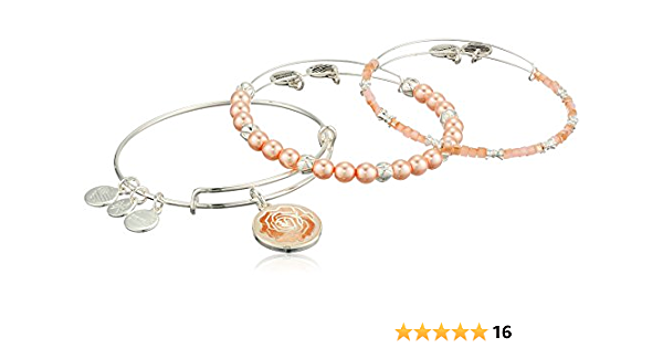ALEX and ANI~ Art Infusion~ PINK ROSE Silver Bangle Bracelets~SET OF 3~NWTC $98