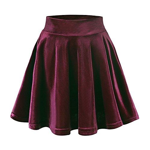 FISOUL Femmes Rtro Jupe Velours Plisse Patineuse Fille Elastique Court Mini Jupe Jujube Rouge