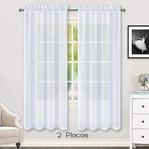 HUTO 2 Panels Sheer Curtains 72 inches Long for Living Room Rod Pocket Window Sheer Drapes for Kids Room,Each is 52 inches Wide White