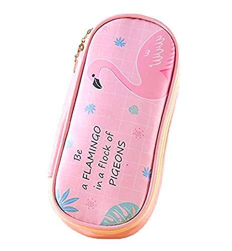 (Cute Animal Flamingo Cat Bear Pencil Case Box Pouch Bag,Kids Cartoon Large Capacity Pen Holder Stationery Organizer - Girls Cosmetic Pouch Bag (Flamingo,Pink))