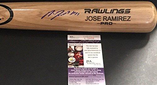 - Jose Ramirez Signed Bat - COA Pro Model Blonde - JSA Certified - Autographed MLB Bats