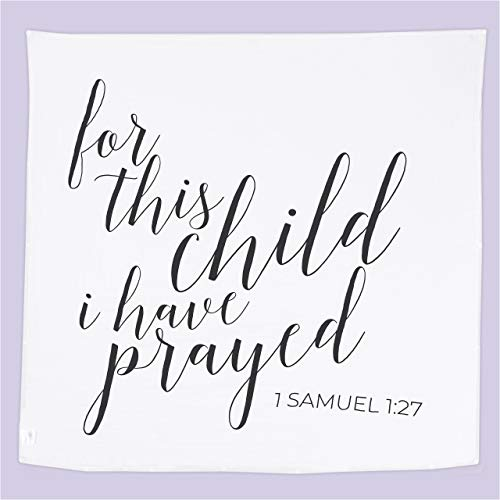 """Ocean Drop Designs - White Muslin Swaddle Blanket - I Have Prayed Quote - for Christening, Baptism, Baby Shower, Godchild Gift - 100% Cotton, Breathable - Machine Washable (47""""x47"""")"""