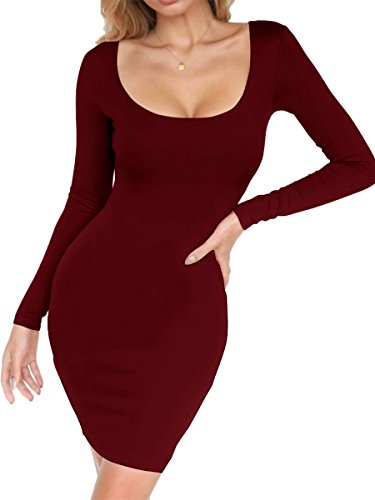 Misfondle Women's Sexy Casual Bodycon Long Sleeve Scoop Neck Mini Club Dress Wine Red