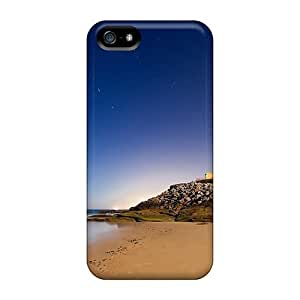 New Snap-on ChrismaWhilten Skin Cases Covers Compatible With Iphone 5/5s- Stars Over Lit Lighouse
