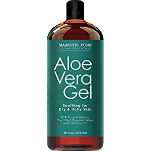 Majestic Pure Aloe Vera Gel - From 100% Pure and Natural Cold Pressed Aloe Vera, 16 fl oz