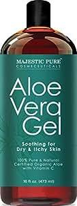 Majestic Pure Aloe Vera Gel, From 100% Pure and Natural Organic Cold Pressed Aloe Vera, 16 fl oz