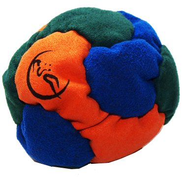 Profi Footbag 6 Paneelen (Orange/Blau/Grun) Pro Freestyle Footbag! Hacky Sack für Anfänger und Profis, ideal für Stände, Fänge, Verzögerungen u. Tritte!