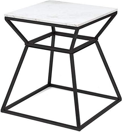 Adore Decor Audrey Tall Black Marble Side Table
