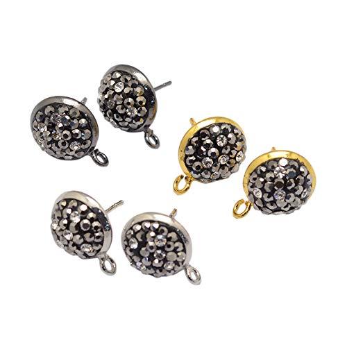 PH PandaHall 20 PCS(10 Pairs) Brass Rhinestone Ear Stud, Flat Round Bezel Tray Blank Cabochon Setting Earring Posts, Assorted Color, ()