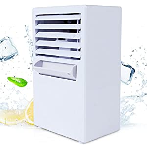 Vshow Personal Air Conditioner Fan,Portable Misting Desktop Table Desk Cooling Fan Evaporative Air Circulator Cooler Humidifier Bladeless Quiet for Office, Dorm, Nightstand - Upgrade Version White