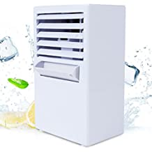 Vshow Mini Personal Air Conditioner Fan,Portable Evaporative Air Cooler Misting Desktop Table Desk Cooling Fan Humidifier Bladeless Quiet for Office, Dorm, Nightstand - Upgrade Version White