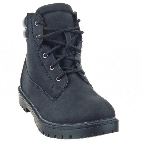 Sopily - Zapatillas de Moda Botas Botas militares Tobillo mujer Talón Tacón ancho 3 CM - plantilla textil - Negro