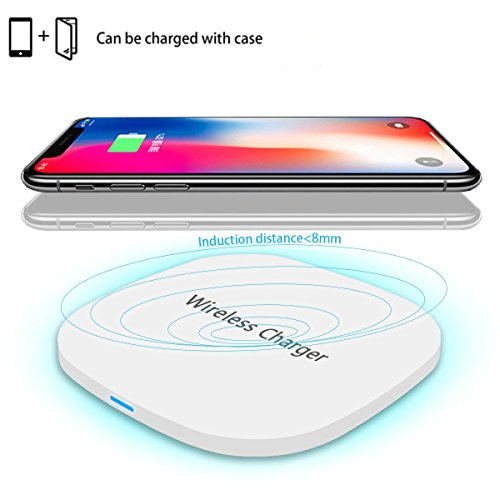 Fast Wireless Charger iPhone X Qi Charging Pad for Apple iPhone 8 Plus and All Qi Enabled Devices,TENNBOO Qi Wireless Fast Charger for Samsung Galaxy note 8, S8 Plus, S7 Edge, S6 Edge ,Note 5 White