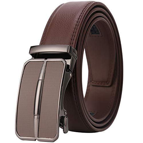 Lavemi Men's Real Leather Ratchet Dress Belt with Automatic Buckle,Elegant Gift Box(1301 Brown 44
